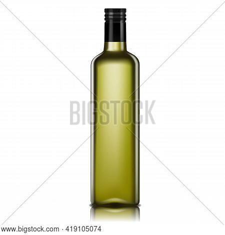 Empty Glass Bottle For Oil, 3d Realistic Vector. Olive Or Avocado Oil Bottle Isolated On White Backg