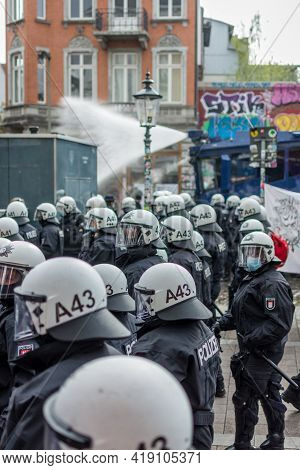 Hamburg, Germany - May 1, 2021: Riot Police On The Side Of A Demonstration With Helmets On During. P