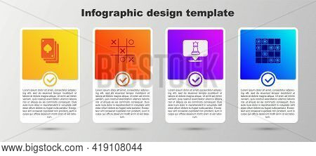 Set Playing Cards, Tic Tac Toe Game, Chess And Board Of Checkers. Business Infographic Template. Vec