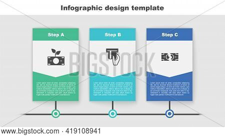 Set Money Plant In The Pot, Credit Card Inserted And Tearing Money Banknote. Business Infographic Te