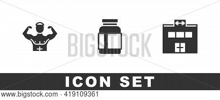 Set Bodybuilder Muscle, Sports Nutrition And Gym Building Icon. Vector