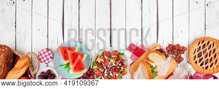 Summer Picnic Food Bottom Border. Variety Of Cold Salads, Sandwiches, Fruit And Treats. Top View Ove