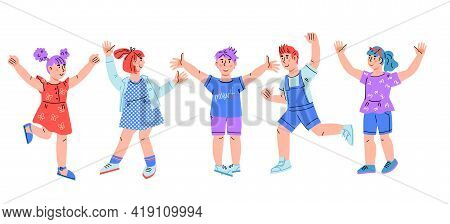 Group Of Happy Smiling And Laughing Children, Boys And Girls Jumping For Joy, Cartoon Vector Illustr