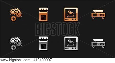 Set Virus, Jar With Additives, 3d Printing Technology And Electronic Scales Icon. Vector