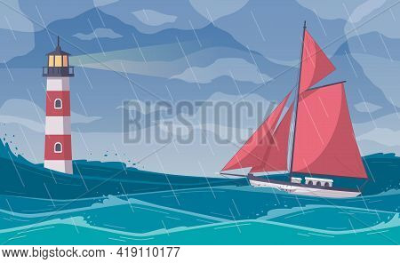 Yachting Cartoon Composition With Open Sea Scenery In Rainy Weather With Red Sail Yacht Facing Storm