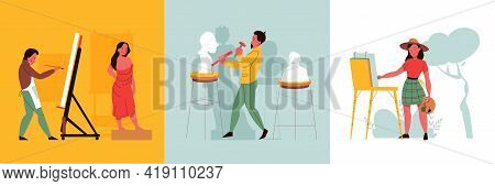 Creative Professions Square Set With Artist And Sculptor Flat Isolated Vector Illustration