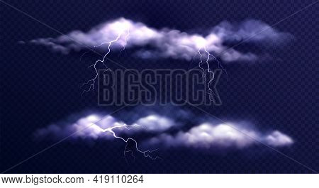 Stormy Clouds Realistic Set With Isolated Images Of Thunderstorm Clouds With Lightning Bolts On Tran