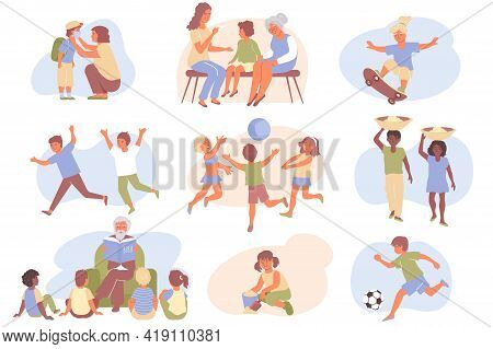 Child Protection Flat Icon Set With Children Play Relax And Learn And Parents Help And Care For Thei