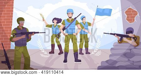 Flat Peacekeepers Concept Military With Guns And Peacekeepers With Flags In Their Hands Stand At The