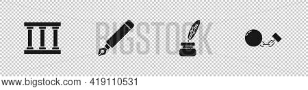 Set Prison Window, Fountain Pen Nib, Feather And Inkwell And Ball Chain Icon. Vector
