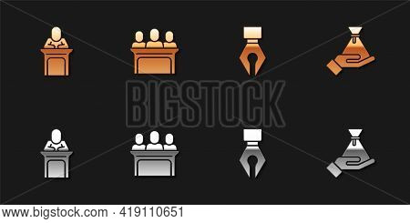 Set Judge, Jurors, Fountain Pen Nib And Bribe Money Bag Icon. Vector