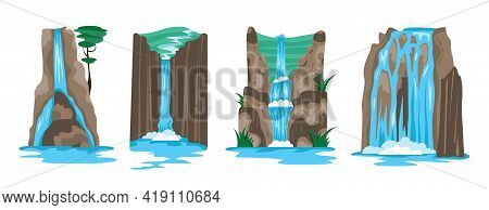 Set Of Four Natural Landscape Scene For Game Design With Waterfalls Rocks And Stones Cartoon Vector