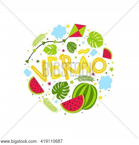 Portuguese Hand Drawn Summer Emblem With Watermelon, Kite And Jungle. Round Logo For Postcard, Poste