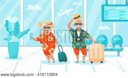 Happy Laughing Traveling Elderly Couple With Luggage In Hawaiian Style Clothes In Airport Cartoon Co