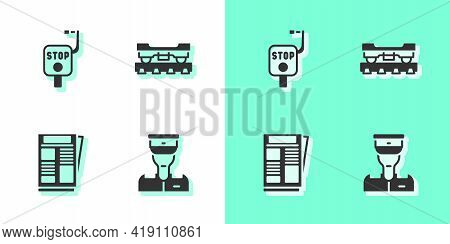 Set Train Conductor, Emergency Brake, News And Cargo Train Wagon Icon. Vector