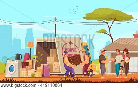 Family Moving Into New House Outdoor Cartoon Composition With Furniture Belongings Truck Unloading C