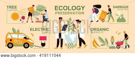 Ecology Preservation Infographics With Electric Car People Planting Trees Collecting Garbage Flat Ve