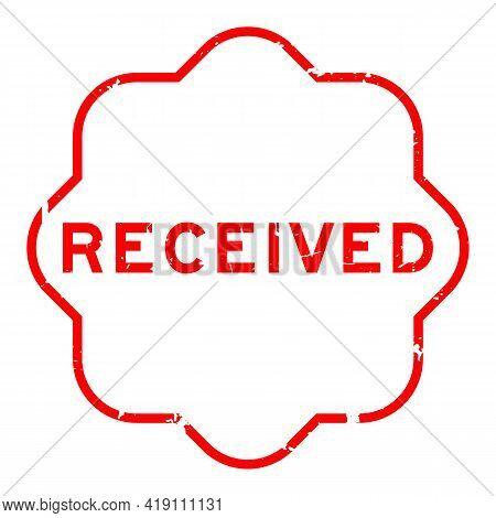 Grunge Red Received Word Rubber Seal Stamp On White Background