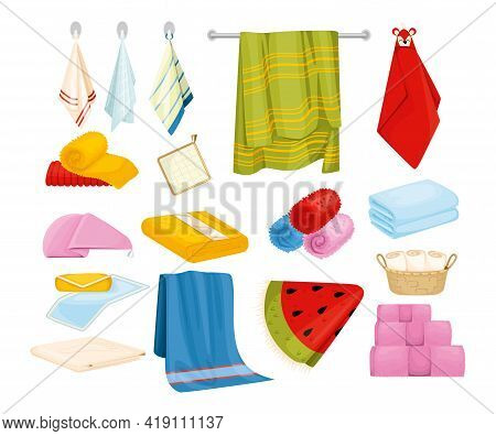 Bath Kitchen Towel Set Of Isolated Pot Holder Icons Stacked Towels Hanging On Hooks And Rail Vector