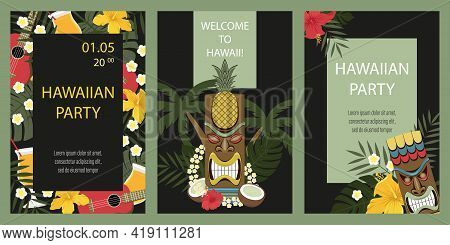 Set Of Hawaiian Cards. Hawaiian Party Invitation. Сards With Tiki Statue, Flowers, Palm Leaves.