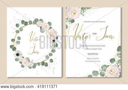 Rose, Anemone, Ranunculus, Chamelaucium, Pink Flowers And Decorative Eucaliptus Leaves Greeting Desi