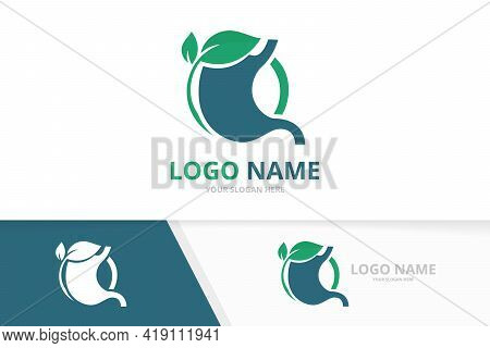 Business Stomach And Leaves Logo Combination. Premium Gastrointestinal Tract Logotype Design Templat