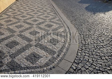Tiles Limestone And Basalt Squares Mosaic White And Black Color Pattern