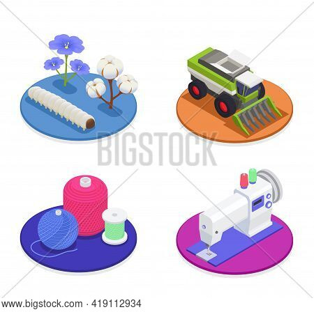 Textile And Spinning Industry 2x2 Design Concept With Harvesting Machinery Cotton And Flax Flowers C