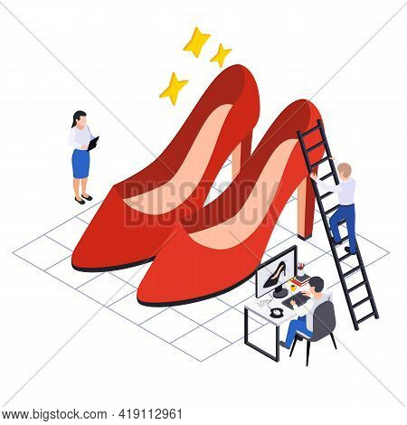 Footwear Shoes Production Isometric Composition With Small Human Characters Of Shoe Designers With R