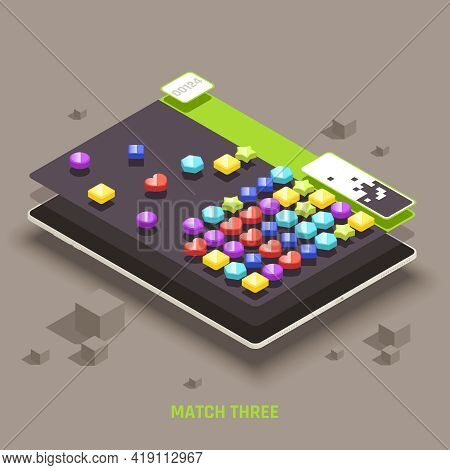Educative Mobile Gaming For Preschool Kids 3d Colorful Shapes Matching Games Isometric Tablet Screen