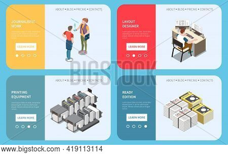 Publishing Horizontal Banners Set With Journalist Layout Designer Printing Equipment And Ready Made