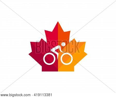 Maple Bike Logo Design. Canadian Biker Logo. Red Maple Leaf With Cycle Concept Vector