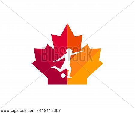 Maple Footballer Player Logo Design. Canadian Woman Footballer Logo. Red Maple Leaf With Football Pl