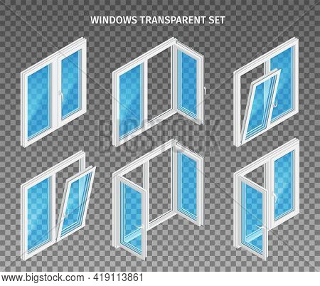 Set Of Double And Three Leaf Plastic Windows With Opened And Closed Casements On Transparent Backgro
