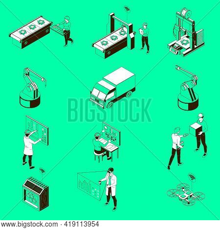 Smart Industry Automated Production Line Operators Robotic Arms Conveyor Belt Drone Delivery Monochr