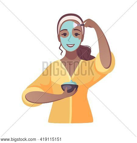 Cartoon Smiling Woman Applying Clay Mask On Face Vector Illustration