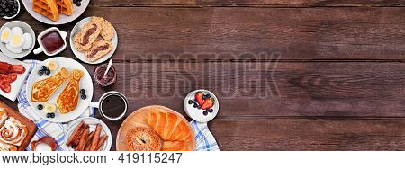 Fathers Day Brunch Corner Border. Overhead View On A Dark Wood Banner Background. Tie Pancakes, Must