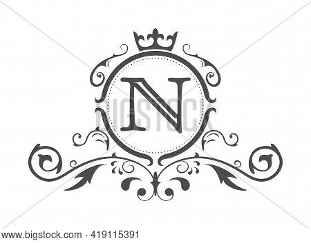 Stylized Letter N Of The Latin Alphabet. Monogram Template With Ornament And Crown For Design Of Ial