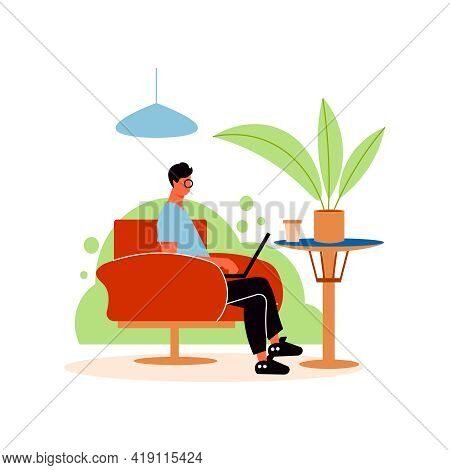 Cozy Cafe Interior Composition With Character Of Man Working With Laptop At Cafe Table Vector Illust