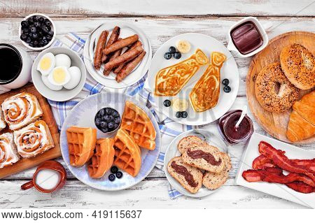 Fathers Day Breakfast Table Scene. Overhead View On A White Wood Background. Tie Pancakes, Mustache