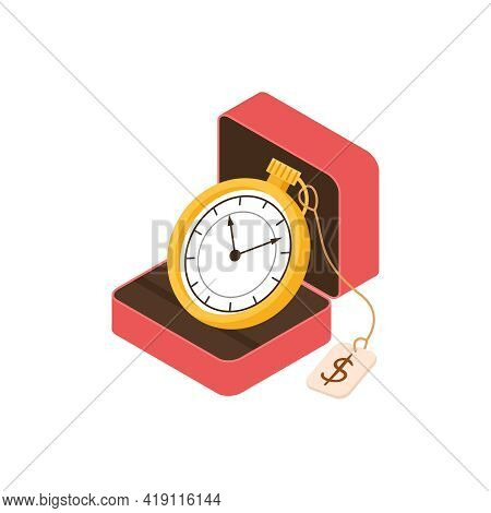Pawn Shop Isometric Composition With Isolated Image Of Vintage Watches In Case With Price Tag Vector