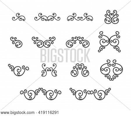 Set Of Curls For Frames, A Stamp Or A Stencil For Scrapbooking And Decorative Embossing, A Template