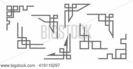 Set Of Corner Frames, Geometric, Stamp Or Stencil For Scrapbooking And Decorative Embossing, Templat