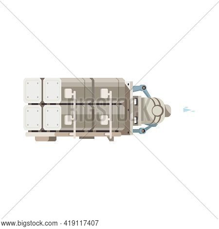 Cartoon Icon With Space Station Module On White Background Vector Illustration