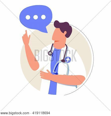Male Therapist On Chat In Messenger And An Online Consultation. Vector Flat Illustration. Ask Doctor