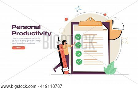 Personal Productivity, Efficiency And Time Management Concept. Personal Growth, Personal Development