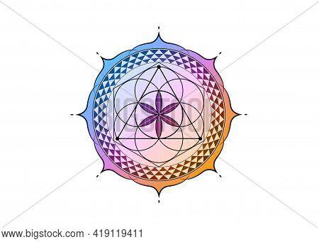 Flower Of Life Symbol Sacred Geometry. Colorful Gradient Lotus Round Logo Icon Geometric Mystic Mand