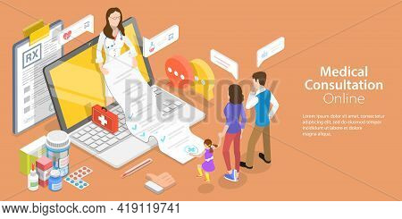 3d Isometric Flat Vector Conceptual Illustration Of Online Medical Clinic