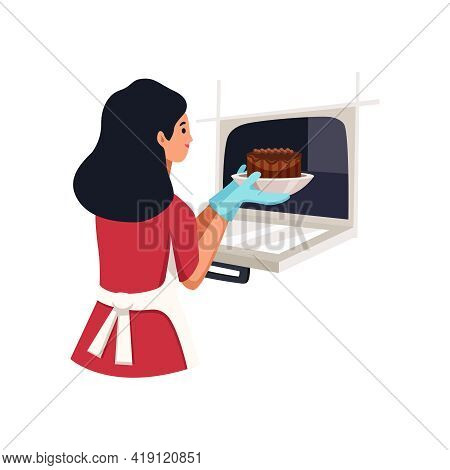 Woman Cook Taking Baked Cake Out Of Stove Flat Vector Illustration