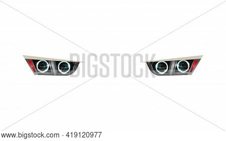 Back Car Headlights Isolated On White Background Realistic Vector Illustration
